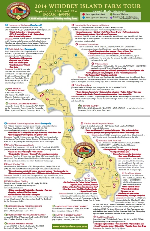 2015 Whidbey Farm Tour Map